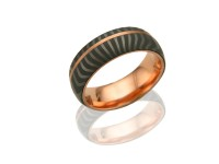 14KT ROSE GOLD AND DAMASCUS STEEL