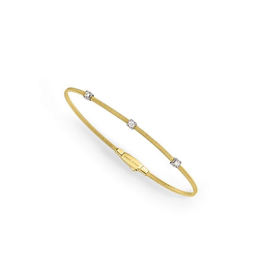 Small Three Station Diamond Bracelet in Yellow Gold