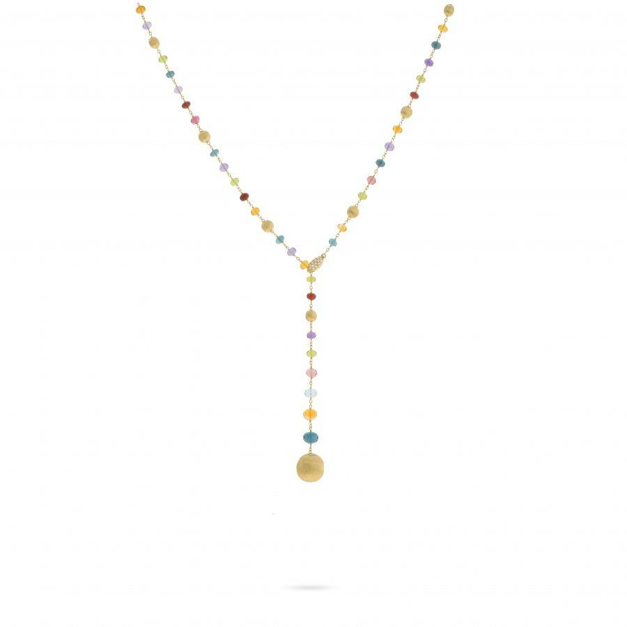 Yellow Gold and Multi-Colored Gemstone Lariat