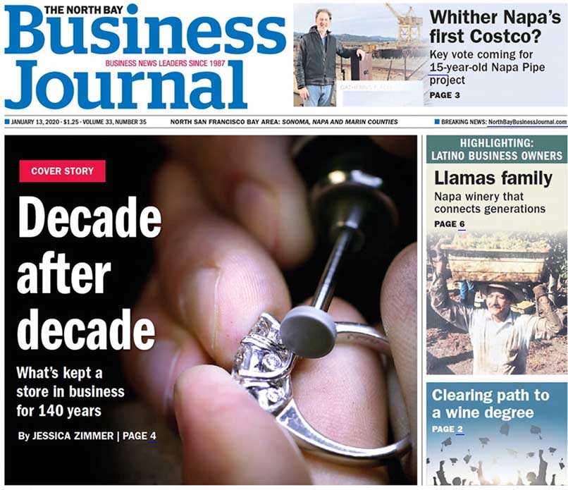E.R. Sawyer Jewelers featured on the cover of the North Bay Business Journal in January 2020 edition