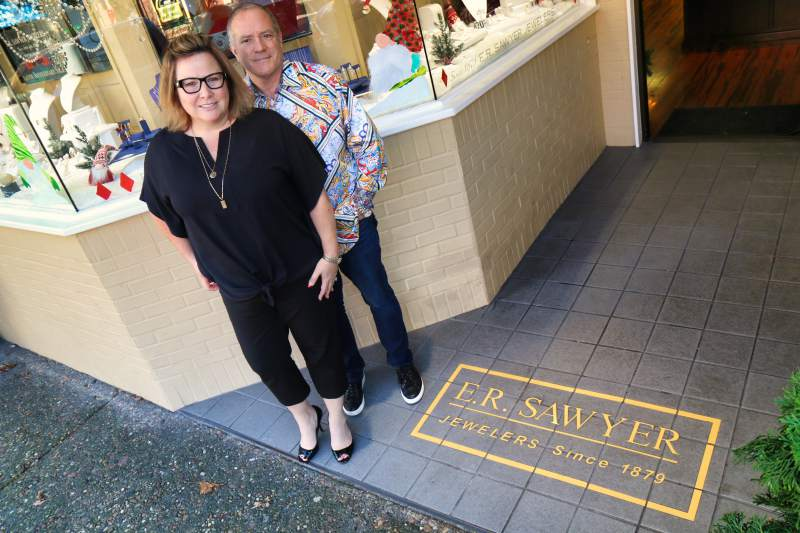 Doug and Ame Van Dyke, owners of E.R. Sawyer Jewelers in the Fourth Street store in downtown Santa Rosa on Monday, Dec. 23, 2019. (Jeff Quackenbush / North Bay Business Journal)
