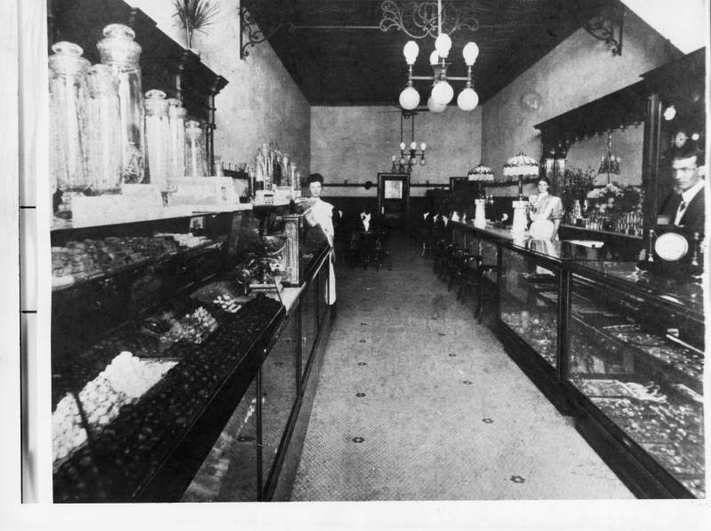 Vintage view of E.R. Sawyer Jewelers and Candy Shop in Santa Rosa