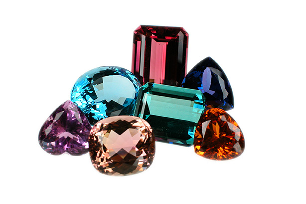 multi colored precious gemstones cut and polished for engagement rings