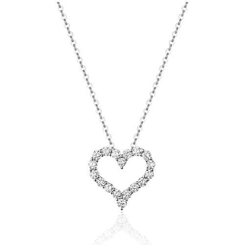 white gold necklace with heart shaped pendent made of diamonds